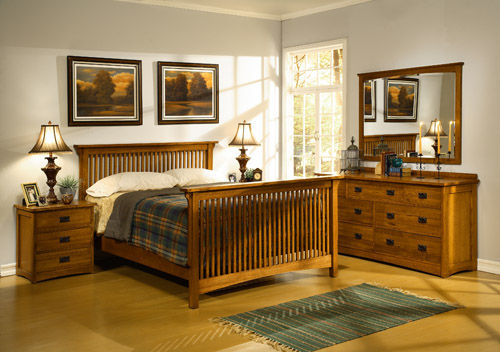 Cf Oakton Craftsman Oak Mission Bedroom Five Piece Set FOR SALE From