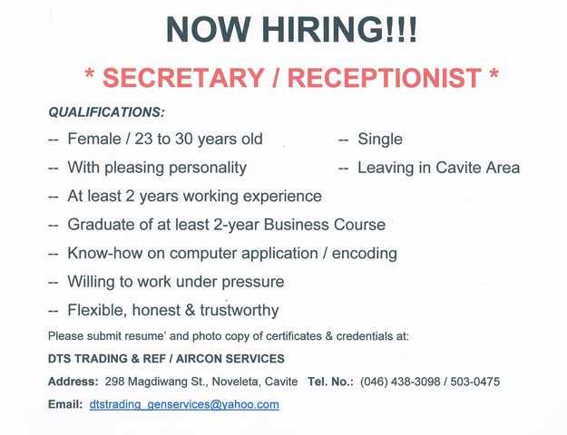 hiring an employee for secretary position A secretary or personal assistant is a person these functions may be entirely carried out to assist one other employee or may be for the many job descriptions.