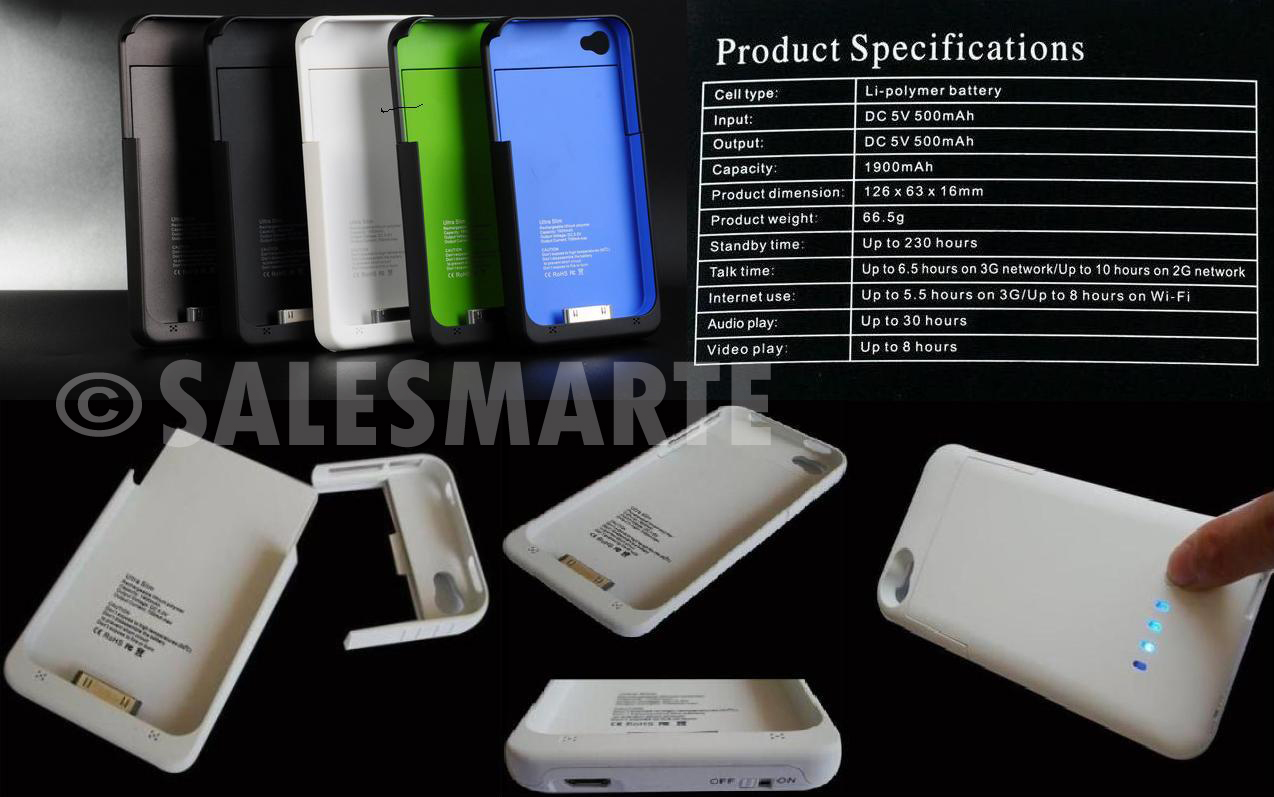 FOR SALE: Ultra Slim Portable External Charger & Holder for iPhone 4/4S