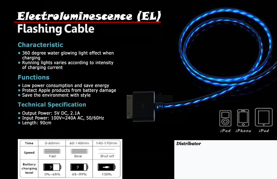 FOR SALE: Visible TRON Flashing USB Cable for Apple product (Iphone/Ipad/Ipod)