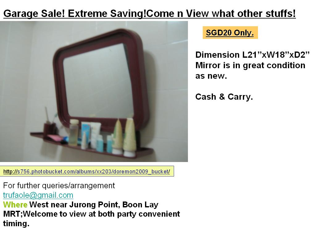 FOR SALE: Mirror as new @SGD18 (Meron color frame)