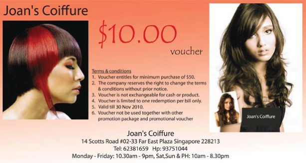 SERVICES: $10.00 voucher from Joan's Coiffure