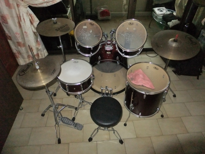 FOR SALE: Pearl Forum Drum Set w Cymbals + Throne - 9/10 - $550 NEG